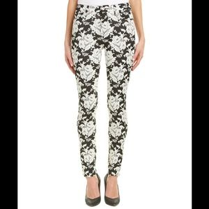 7 For All Mankind White Rose Jacquard pants